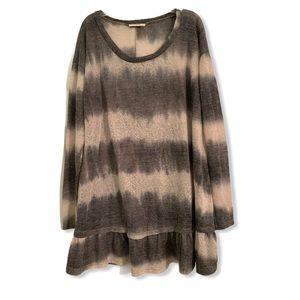 Easel gray striped long sleeve tunic blouse